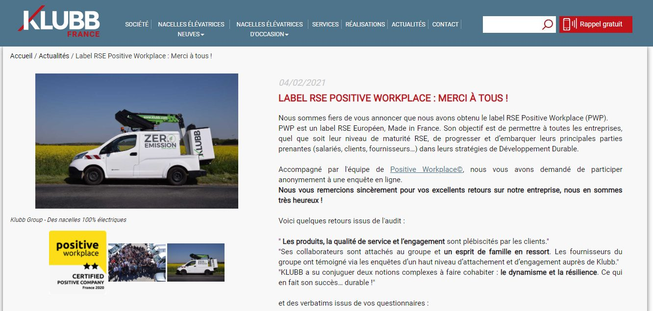 Klubb - Positive Workplace le label RSE des PME et ETI